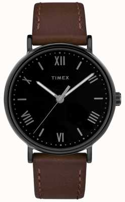 Timex Mens southview 41mm bruin lederen band zwarte wijzerplaat TW2R80300D7PF