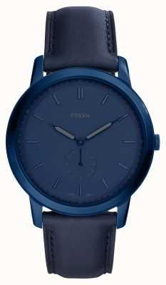 Fossil Mens het minimalistische blauwe horloge van de leerriem FS5448