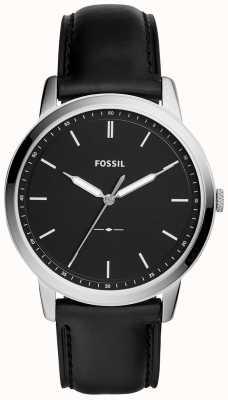 Fossil Mens het minimalistische zwarte leerriemhorloge FS5398