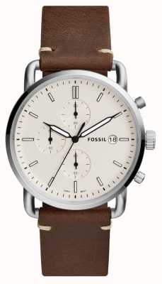 Fossil Herenforens horloge wit chronograaf bruin lederen band FS5402