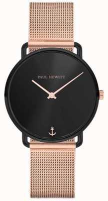 Paul Hewitt Unisex miss ocean line 32mm zwarte wijzerplaat rose goud mesh PH-M-B-BS-4S