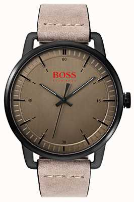 Hugo Boss Orange Stockholm heren suede lederen band zwart ip vergulde behuizing 1550073