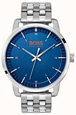 Hugo Boss Orange Stockholm heren blauwe wijzerplaat zilveren roestvrij stalen armband 1550076