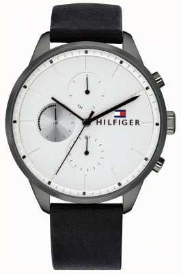 Tommy Hilfiger Zwarte wijzerplaat herenhorloge chronograaf zwart leer 1791489