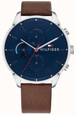 Tommy Hilfiger Bruine chronometer met leren wijzerplaat herenhorloge 1791487