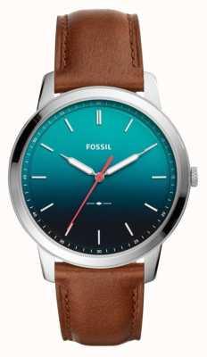 Fossil Mens de minimalistische 3 uur lederen band FS5440