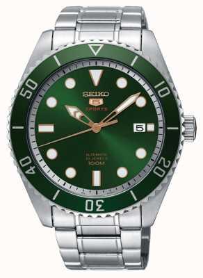 Seiko 5 groene wijzerplaat en bezel sport automatische datumweergave SRPB93K1