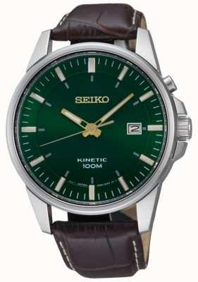 Seiko Heren kinetisch groene wijzerplaat datumweergave bruine lederen band SKA753P1
