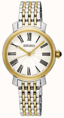Seiko Gouden kast Romeinse cijfers two tone roestvrij stalen armband SRZ496P1