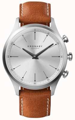Kronaby 41 mm sekel zilveren wijzerplaat bruine lederen band A1000-3125