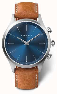 Kronaby 41 mm sekel blauwe wijzerplaat bruin lederen band a1000-3124 S3124/1