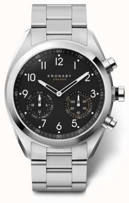 Kronaby 43mm apex zwarte wijzerplaat roestvrij stalen armband A1000-3111