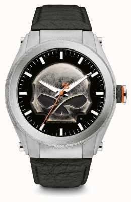 Harley Davidson Zware metalen schedel wijzerplaat dikke lederen zwarte lederen band 76A156