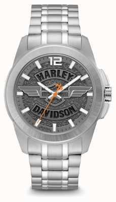 Harley Davidson Zilverkleurige roestvrijstalen kast en armband met logoprint 76A157