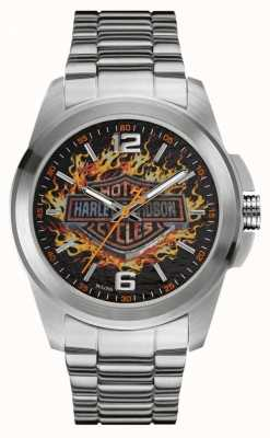 Harley Davidson Vlammende logodruk inox kast en armband 76A147