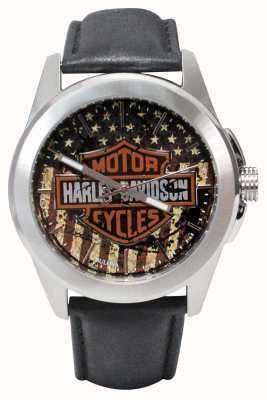 Harley Davidson Logos logo met wijzerplaat in Amerikaanse stijl, leer in roestvrij staal 76A153