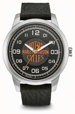 Harley Davidson Oranje logo zwarte wijzerplaat in edelstaal zwart leer 76A155