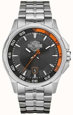Harley Davidson Donkergrijze wijzerplaat datum display roestvrij stalen armband 76B170