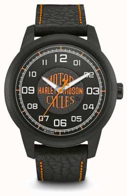 Harley Davidson Zwarte leren wijzerplaat met logoprint, zwarte lederen band met beugel 78A116