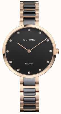 Bering Rose gold & black titanium kristal-instelknop 11334-762