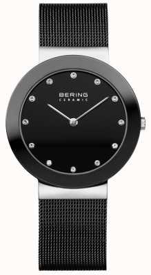 Bering Kristallen wijzerplaat met ceramiek zwarte mesh armband 11435-102