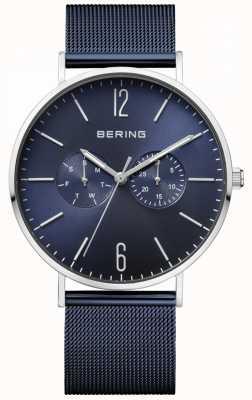 Bering Klassieke dag en datum display in blauwe wijzerplaat met blauwe mesh-armband 14240-307