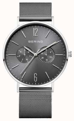 Bering Klassieke donkergrijze dag- en datumdisplay mesh armband 14240-309