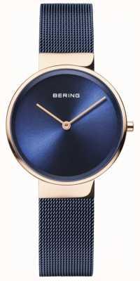 Bering Dames klassiek blauwe wijzerplaat rosé goud kastje blauw geplateerd mesh 14531-367