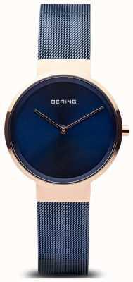 Bering Klassieke blauwe wijzerplaat rosé gouden kast blauw geplateerd mesh 14531-367