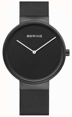 Bering Zwarte wijde zwarte ip-coated mesh-armband voor heren 14539-122