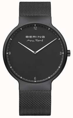 Bering Max rené zwarte wijzerplaat witte markeringen zwart ip vergulde mesh band 15540-123