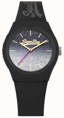 Superdry Zwarte glitter siliconen hoes en riem voor vrouwen SYL179B
