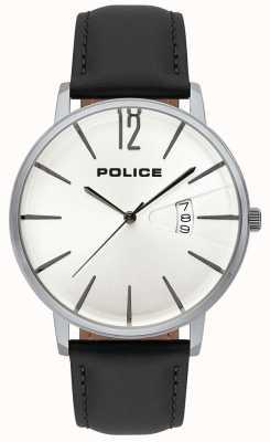 Police De deugdedatum van heren toont witte wijzerplaat zwarte leerriem 15307JS/01