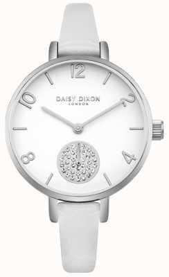 Daisy Dixon Dames alice kristal set subdial witte lederen band DD075WS
