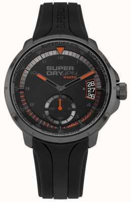 Superdry Kyoto-datumdisplay heren zwarte siliconen band SYG217BB