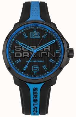 Superdry Zwarte en blauwe siliconen riem van kyoto voor heren SYG216BU