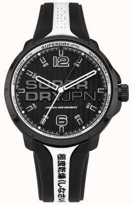 Superdry Kyoto zwart-witte siliconen horlogeband heren SYG216BW