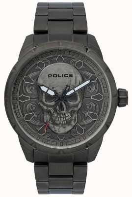 Police Mystic schedel print zwarte wijzerplaat zwarte ip armband 15397JSU/57M