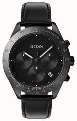 Hugo Boss Talent chronograaf zwarte wijzerplaat datumweergave zwart leer 1513590
