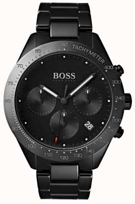 Hugo Boss Heren talent zwarte wijzerplaat datumweergave zwarte ip vergulde armband 1513581