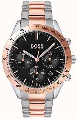 Hugo Boss Heren talent zwarte wijzerplaat rose goud & zilver two tone armband 1513584