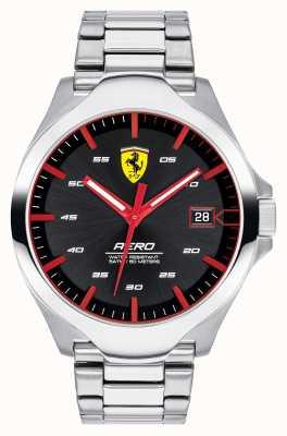 Scuderia Ferrari Heren aero datum display zwarte wijzerplaat roestvrij stalen armband 0830507
