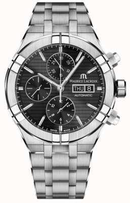Maurice Lacroix Aikon automatisch chronograaf roestvrij stalen zwarte wijzerplaathorloge AI6038-SS002-330-1