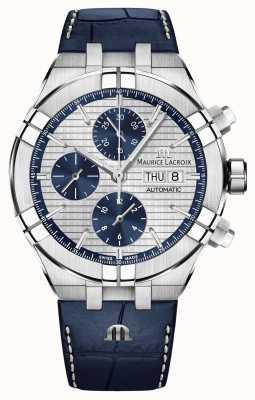 Maurice Lacroix Aikon automatisch chronograaf blauw lederen bandhorloge AI6038-SS001-131-1