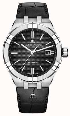 Maurice Lacroix Aikon automatisch zwart wijzerplaat zwart lederen horloge AI6008-SS001-330-1