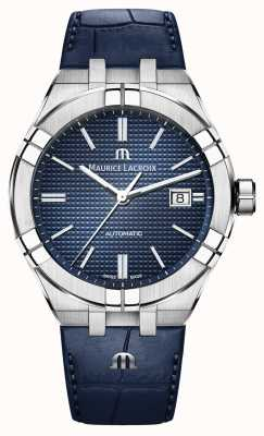 Maurice Lacroix Aikon automatisch blauw wijzerplaat blauw lederen horloge AI6008-SS001-430-1