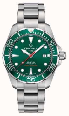 Certina Ds actie powermatic groene wijzerplaat / bezel roestvrij staalhorloge C0324071109100