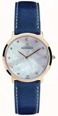 Michel Herbelin Dames ikone blauwe lederen band parelmoer wijzerplaat 16915/PR59BL