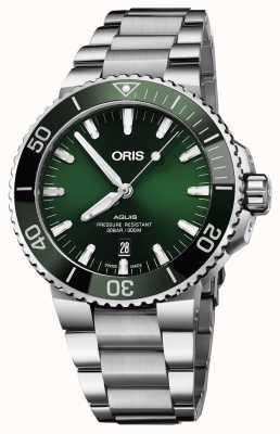 Oris Mens aquis date groene wijzerplaat metalen armband 01 733 7730 4157-07 8 24 05PEB