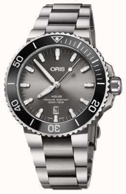 Oris Heren titanium aquis metalen armband grijze wijzerplaat 01 733 7730 7153-07 8 24 15PEB